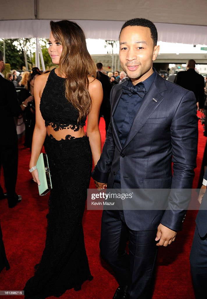 Chrissy Teigen and John Legend attend the 55th Annual GRAMMY Awards at STAPLES Center on February 10, 2013 in Los Angeles, California.