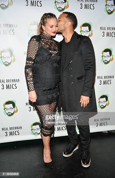 Chrissy Teigen and John Legend attend the 'Neal Brennan 3 Mics' Opening Night at the Lynn Redgrave Theatre on March 3 2016 in New York City