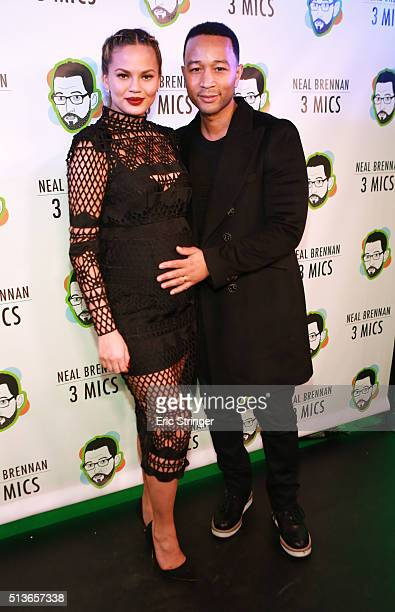 Chrissy Teigen and John Legend attend the opening night of 3 Mics a John Legend and Get Lifted production directed by Drew Barr on March 3 2016 at...
