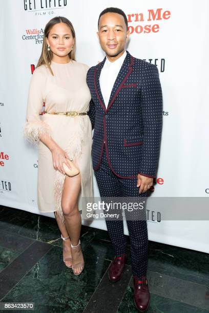 Chrissy Teigen and John Legend attend 'Turn Me Loose' at Wallis Annenberg Center for the Performing Arts on October 19 2017 in Beverly Hills...