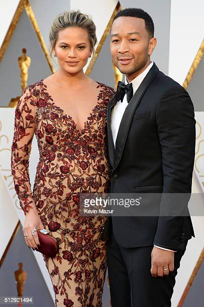 Chrissy Teigen and John Legend attends the 88th Annual Academy Awards at Hollywood Highland Center on February 28 2016 in Hollywood California