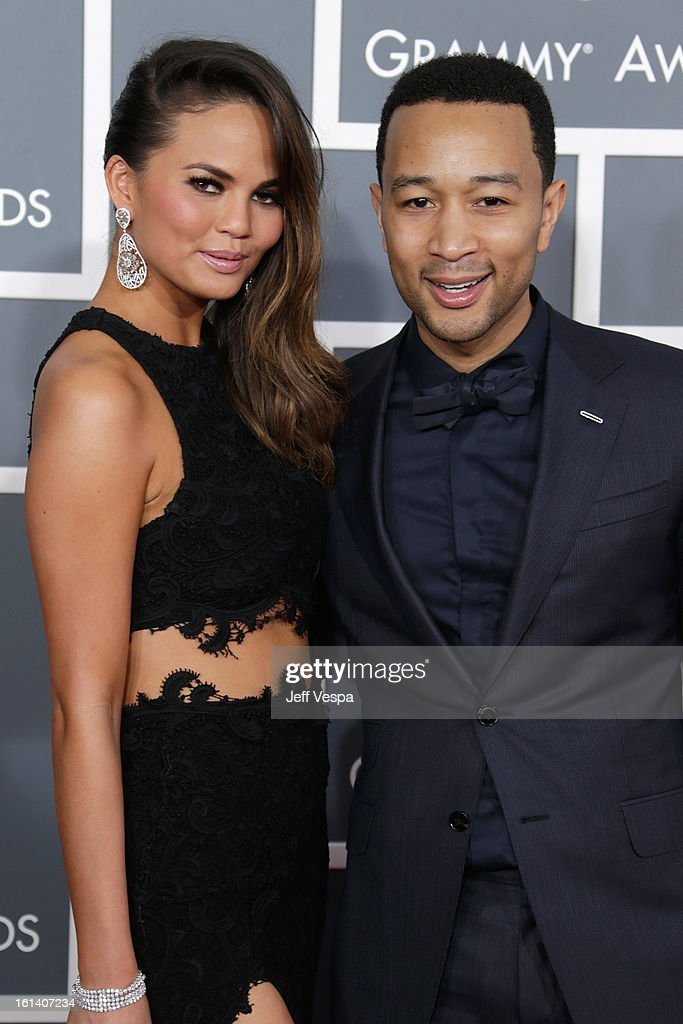 Chrissy Teigen and musician John Legend attend the 55th Annual GRAMMY Awards at STAPLES Center on February 10, 2013 in Los Angeles, California.