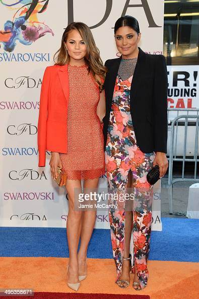 Chrissy Teigen and Rachel Roy attend the 2014 CFDA fashion awards at Alice Tully Hall Lincoln Center on June 2 2014 in New York City