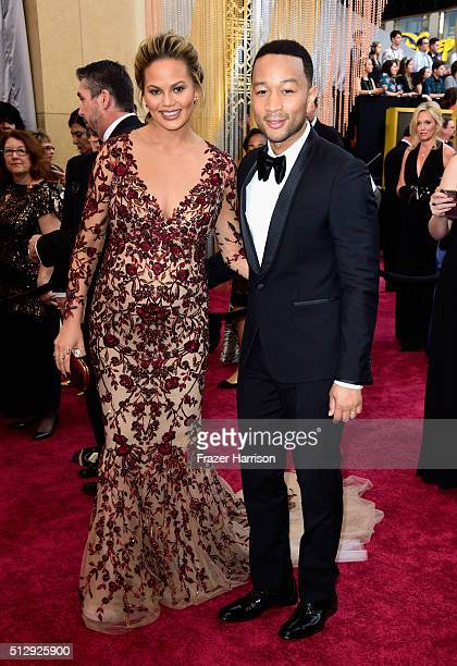 Chrissy Teigen and singer John Legend attend the 88th Annual Academy Awards at Hollywood Highland Center on February 28 2016 in Hollywood California