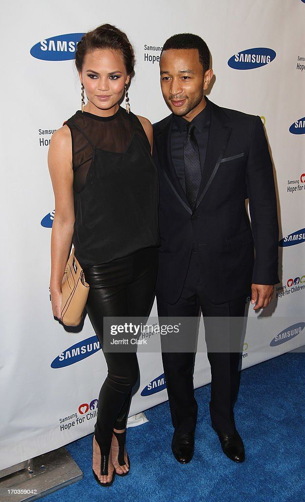 Chrissy Teigen and Singer <a gi-track='captionPersonalityLinkClicked' href=/galleries/search?phrase=John+Legend&family=editorial&specificpeople=201468 ng-click='$event.stopPropagation()'>John Legend</a> attends Samsung Hope For Children 12th Annual Gala at Cipriani Wall Street on June 11, 2013 in New York City.