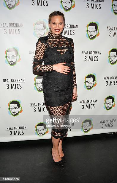 Chrissy Teigen attends the 'Neal Brennan 3 Mics' Opening Night at the Lynn Redgrave Theatre on March 3 2016 in New York City