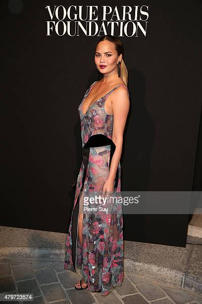 Chrissy Teigen attends theVogue Paris Foundation Gala at Palais Galliera on July 6 2015 in Paris France