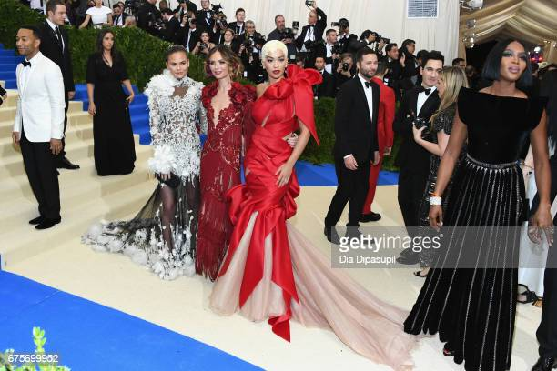 Chrissy Teigen Georgina Chapman Rita Ora attend the 'Rei Kawakubo/Comme des Garcons Art Of The InBetween' Costume Institute Gala at Metropolitan...