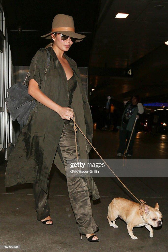 Chrissy Teigen is seen at LAX on November 17 2015 in Los Angeles California