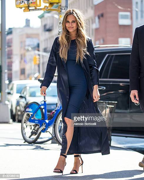 Chrissy Teigen is seen in SoHo on March 1 2016 in New York City