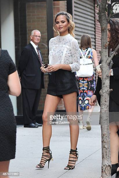 Chrissy Teigen is seen outside the LC Lauren Conrad show on September 9 2015 in New York City