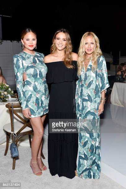Chrissy Teigen Jessica Alba and Rachel Zoe attend Rachel Zoe SS18 Presentation at Sunset Tower Hotel on September 5 2017 in West Hollywood California