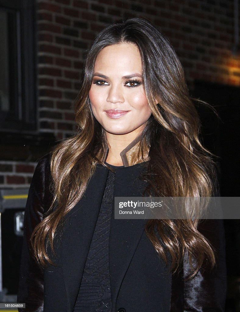 Chrissy Teigen leaves 'The Late Show with David Letterman' at Ed Sullivan Theater on February 11, 2013 in New York City.