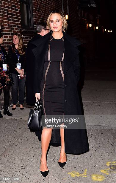 Chrissy Teigen leaves 'The Late Show With Stephen Colbert' at the Ed Sullivan Theater on March 1 2016 in New York City