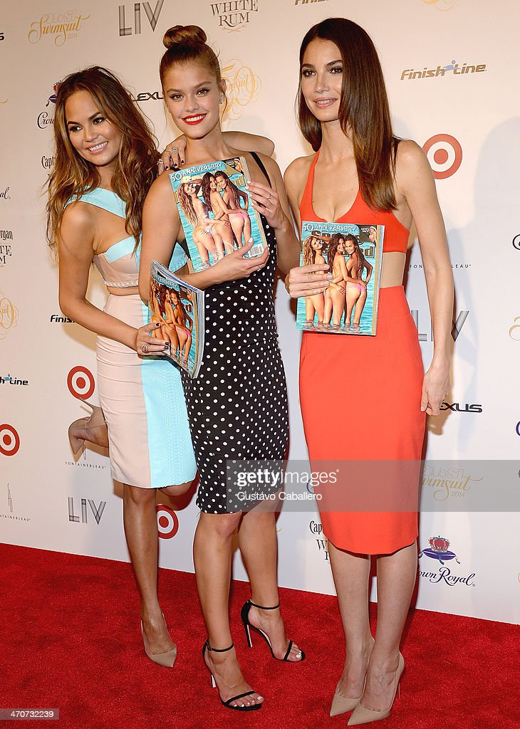 Chrissy Teigen, Nina Agdal, and Lily Aldridge attend Club SI Swimsuit at LIV nightclub at Fontainebleau Miami on February 19, 2014 in Miami Beach, Florida.