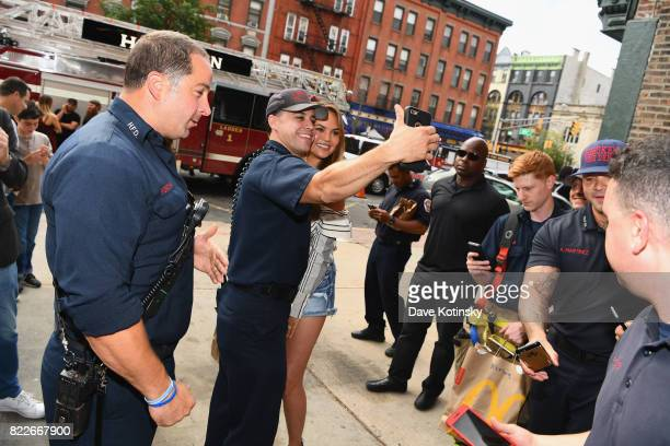 Chrissy Teigen shares McDelivery with the Hoboken Fire Department on July 25 2017 in Hoboken City