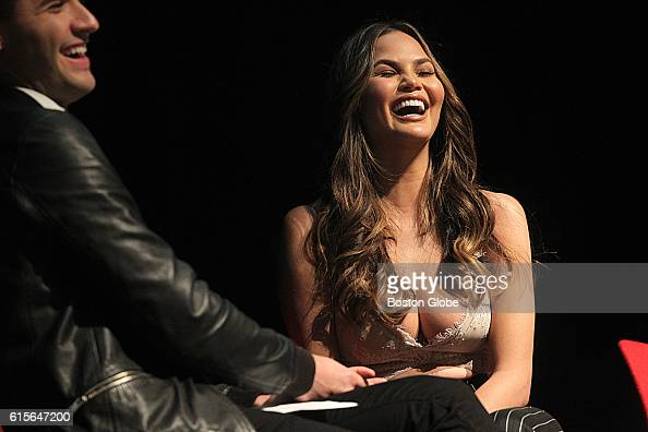 Chrissy Teigen speaks at the Forbes Under 30 Summit at Blackman Auditorium in Ell Hall at Northeastern University in Boston on Oct 18 2016