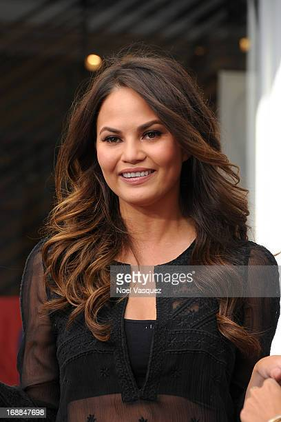 Chrissy Teigen visits 'Extra' at The Grove on May 15 2013 in Los Angeles California
