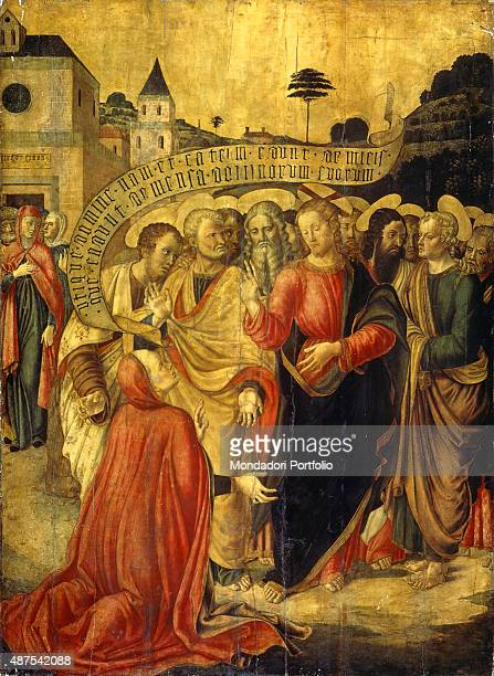Christ and the Canaanite Woman by Lazzaro Bastiani c 14501499 15th Century oil on board5 x 1675 cm Italy Veneto Venice Accademia Gallery Whole...