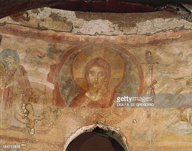 Christ blessing fresco by the Master of Castelseprio Church of Santa Maria Foris Portas Castelseprio Italy 9th century