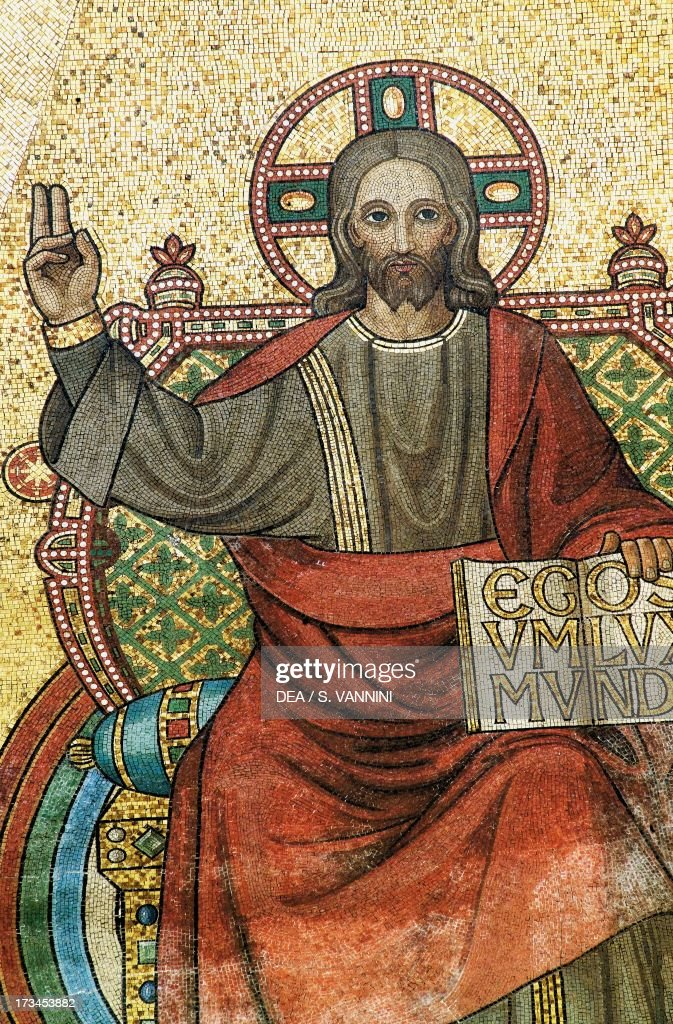 Christ Blessing, mosaic, Palatine Chapel (9th century), Aachen Cathedral (Unesco World Heritage List, 1978), Rhineland-Westphalia, Germany. Detail.
