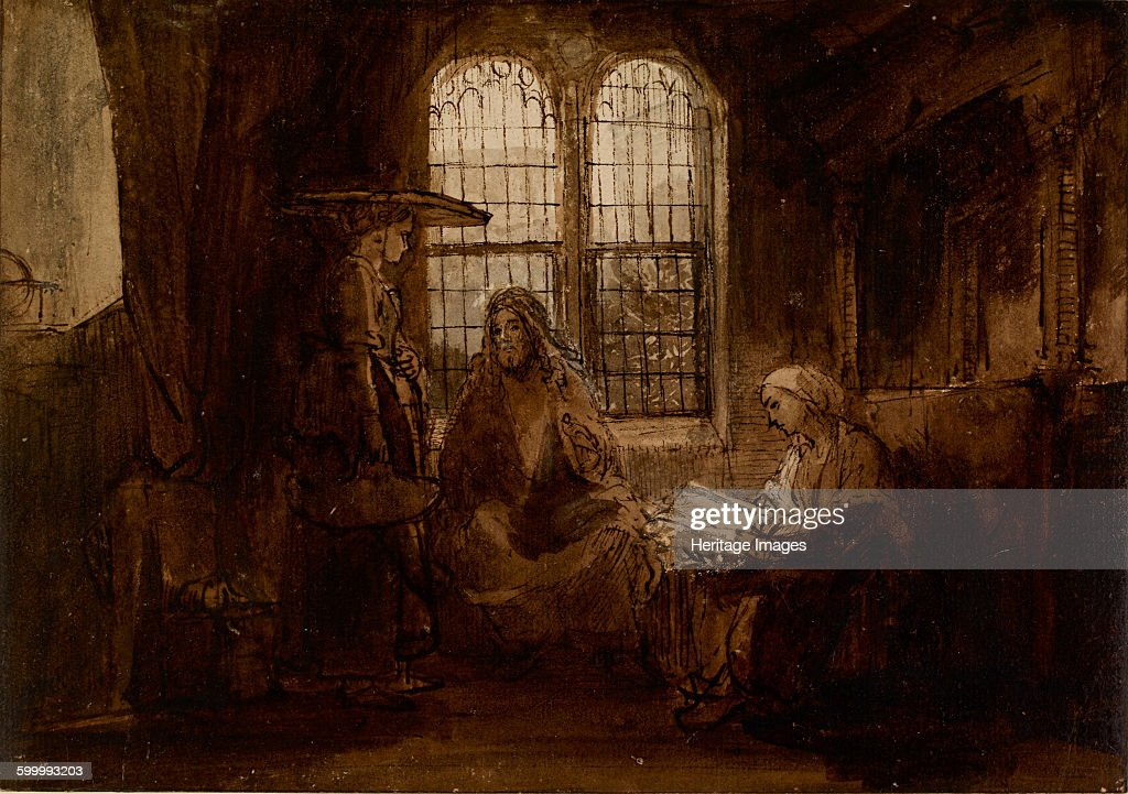 Christ Conversing with Martha and Mary ca 1652 Found in the collection of British Museum Artist Rembrandt van Rhijn