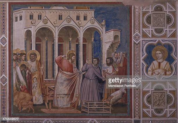 'Christ driving the Money Changers from the Temple by Giotto 13031305 14th Century fresco Italy Veneto Padua Scrovegni Chapel After restoration...