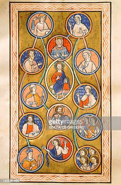 Christ in almond aureola illuminated page from a Psalter medieval Latin manuscript 12th Century