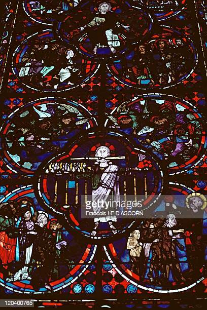 Christ In Bourges France Stainedglass windows in the Cathedral of Bourges in the Cher department of France Vitraux de la Cathedrale de Bourges France