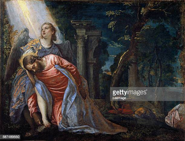 Christ in the garden supported by an angel by Italian painter Paolo Veronese 15281588 Oil on canvas 108 x 80 cm c1581 Pinacoteca di Brera Milan Italy