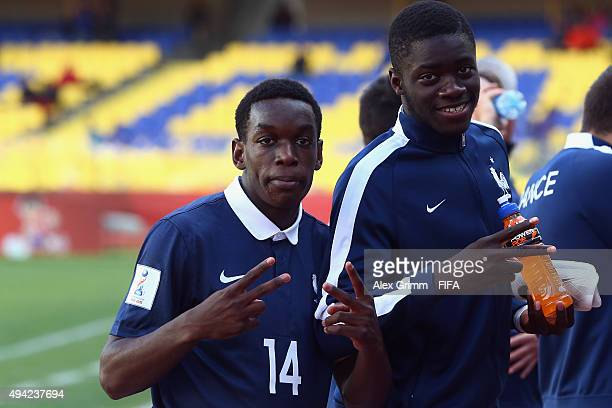 Christ Maouassa and Mamadou Doucoure of France react after the FIFA U17 World Cup Chile 2015 Group F match between France and Syria at Estadio...