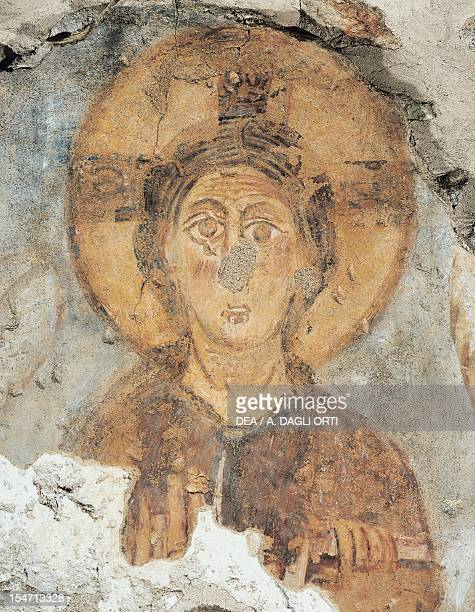 Christ on the throne detail of a fresco from the tower of the monastery of Torba Castelseprio Italy 11th century