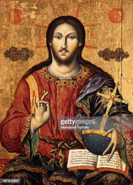 Christ Pantocrator attributed to Mihal Anagnosti 19th Century tempera on wood Albania Tirana Institute for Cultural Monuments Whole artwork view Icon...