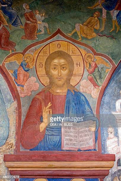 Christ Pantocrator fresco Trinity Cathedral Ipatyev monastery founded in 13th century Kostroma Russia