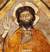 Christ Pantocrator, 12th century fresco paint ('Santos Justo y Pastor' chrurch,Segovia,Spain)