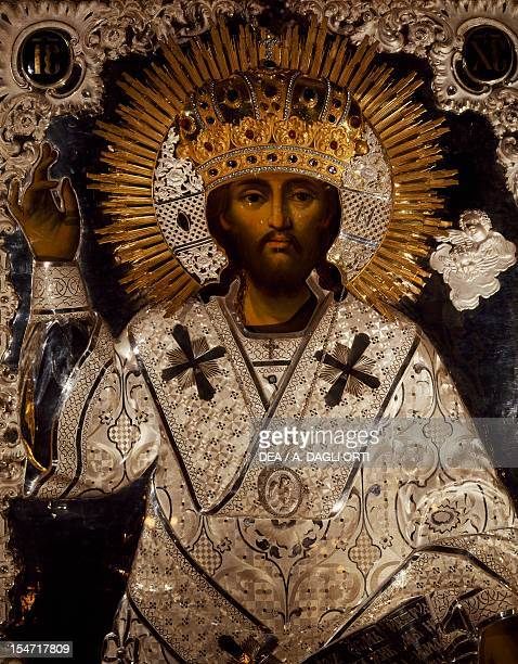 Christ Russian icon decorated with gold silver and precious stones iconostases of the Serbian Orthodox Church of the Holy Trinity and St Spyridon...