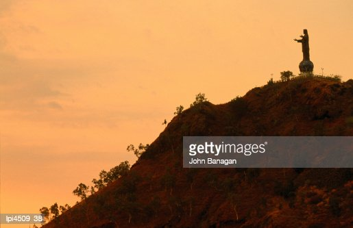 Christ statue at dusk, Low angle view, Dili, East Timor