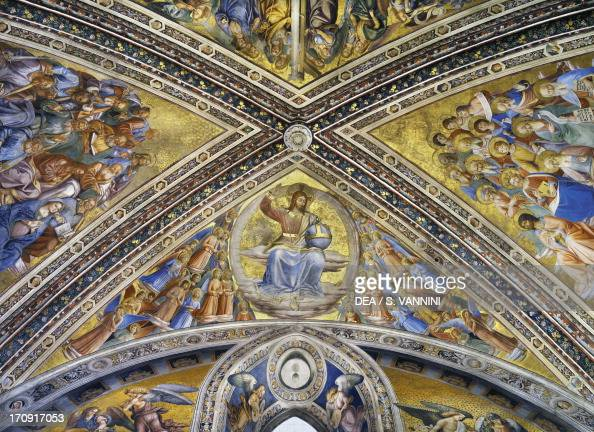 Christ the Judge amongst the angels apostles and prophets 14471504 by Fra Angelico and Luca Signorelli frescoes first span vault and lunette San...
