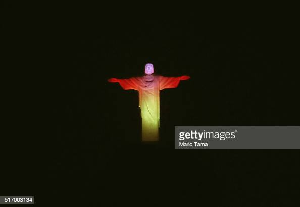 Christ the Redeemer statue is lit in the national colors of Belgium on March 22 2016 in Rio de Janeiro Brazil The lighting was done in solidarity...