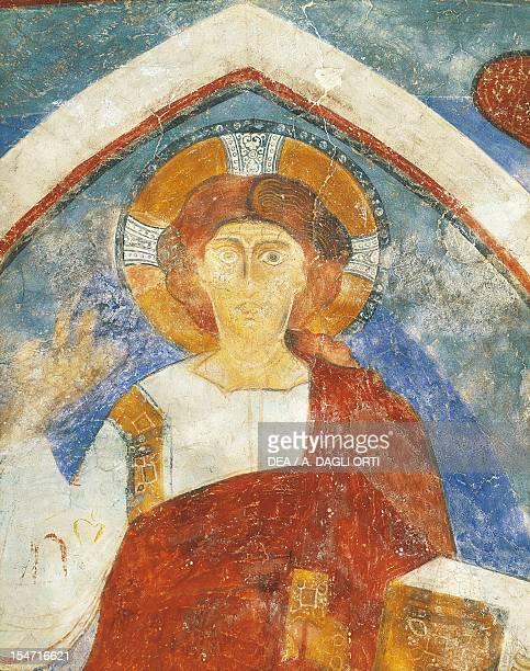 Christ within a mandorla fresco apse of San Giacomo Church Grissiano near Prissiano TrentinoAlto Adige Detail Italy 13th century