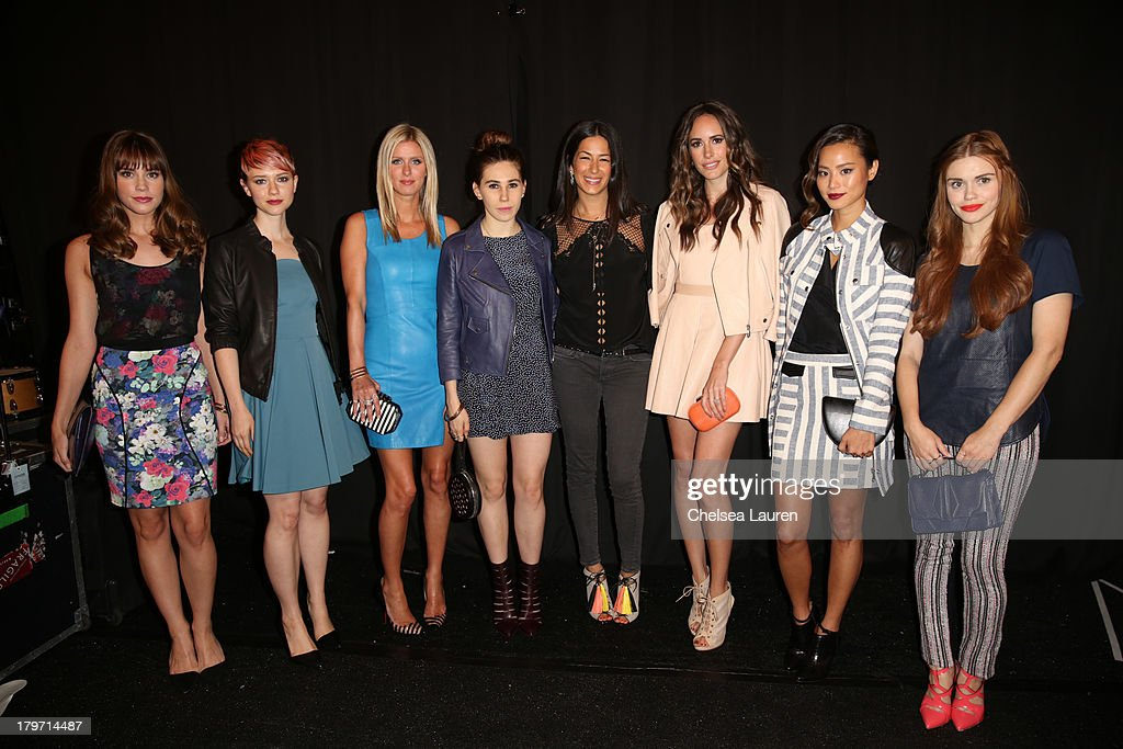Christa B. Allen, Valorie Curry, Nicky Hilton, Zosia Mamet, Rebecca Minkoff, Louise Roe, Jamie Chung and Holland Roden pose backstage at the Rebecca Minkoff Spring 2014 fashion show during Mercedes-Benz Fashion Week at The Theatre at Lincoln Center on September 6, 2013 in New York City.