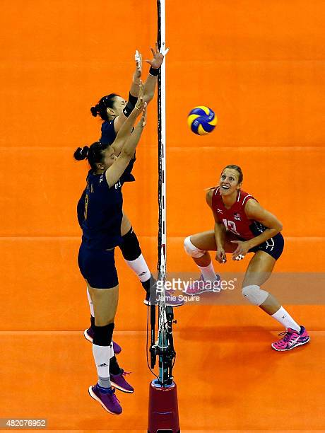 Christa Harmotto Dietzen of the USA in action during the final round match against China on day 5 the FIVB Volleyball World Grand Prix on July 26...