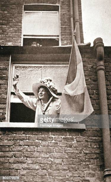 Christabel Pankhurst waving to the hunger strikers from a house overlooking Holloway Prison 1909 Christabel Pankhurst was one of the leaders of the...