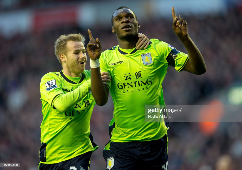 Christain Benteke of Aston Villa celebrates his first goal for Aston Villa during the Barclays Premier League match between Liverpool and Aston Villa at Anfield on December 15, 2012 in Liverpool, England.