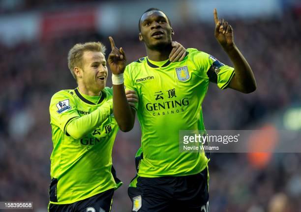 Christain Benteke of Aston Villa celebrates his first goal for Aston Villa during the Barclays Premier League match between Liverpool and Aston Villa...