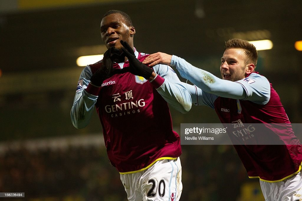 Christain Benteke of Aston Villa celebrates his goal during the Capital One Cup Quarter Final match between Norwich City and Aston Villa at Carrow Road on December 11, 2012 in Norwich, England.