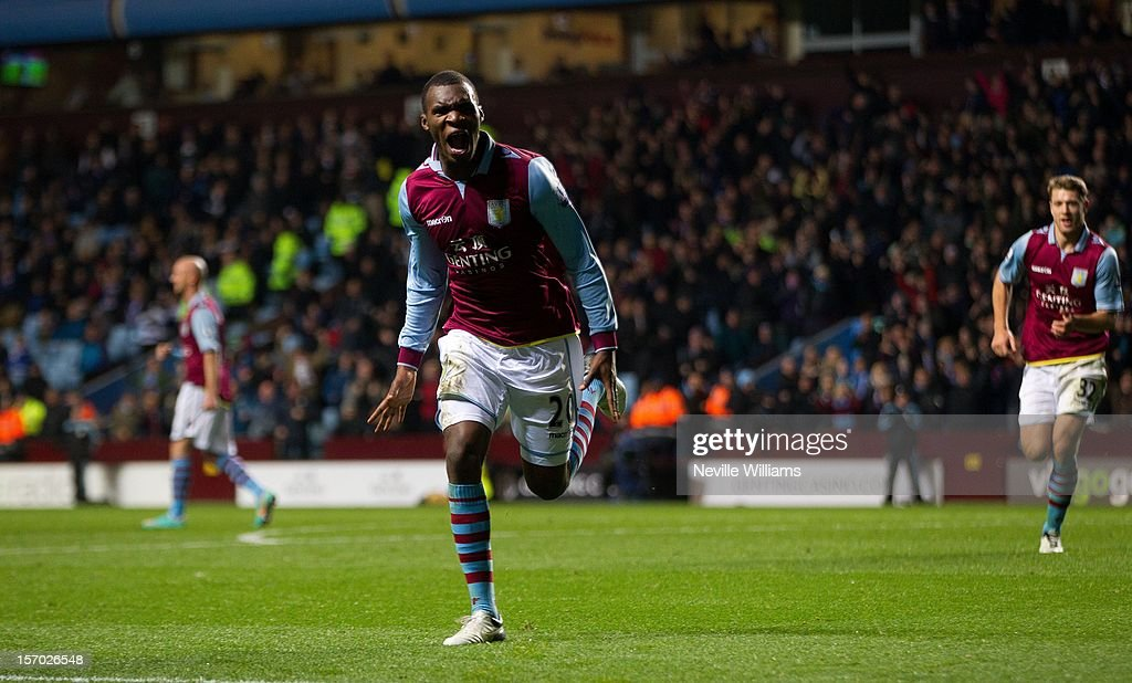 Christain Benteke of Aston Villa celebrates his goal for Aston Villa during the Barclays Premier League match between Aston Villa and Reading at Villa Park on November 27, 2012 in Birmingham, England.