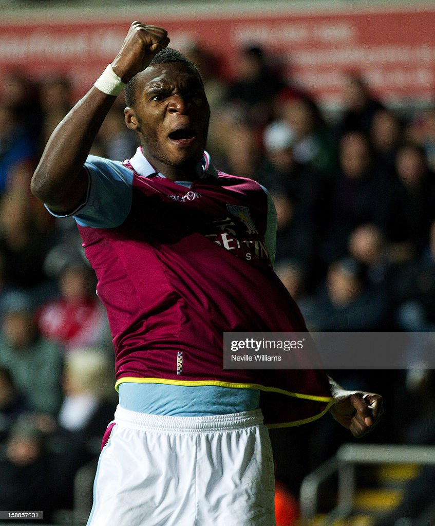 Christain Benteke of Aston Villa celebrates his goal for Aston Villa during the Barclays Premier League match between Swansea City and Aston Villa at Liberty Stadium on January 01, 2013 in Swansea, Wales.
