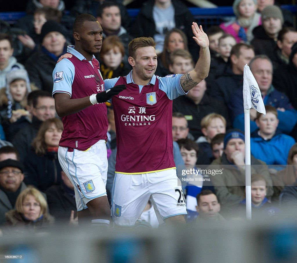 Christain Benteke (L) of Aston Villa celebrates his goal for Aston Villa during the Barclays Premier League match between Everton and Aston Villa at Goodison Park on February 02, 2013 in Liverpool, England.