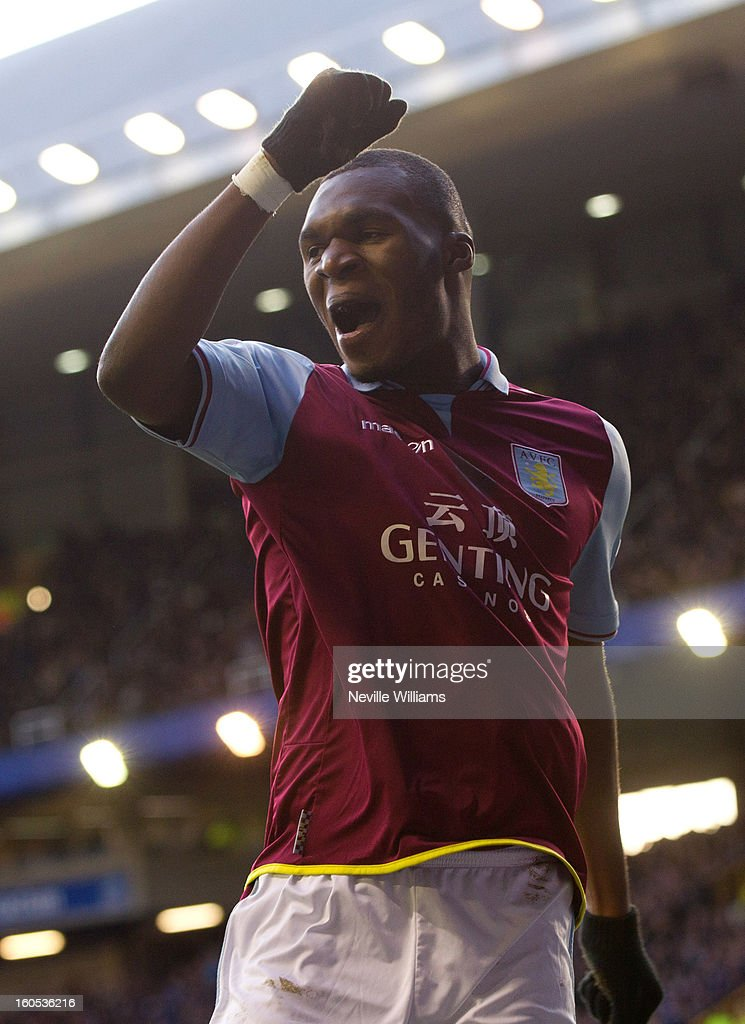 Christain Benteke of Aston Villa celebrates his second goal for Aston Villa during the Barclays Premier League match between Everton and Aston Villa at Goodison Park on February 02, 2013 in Liverpool, England.